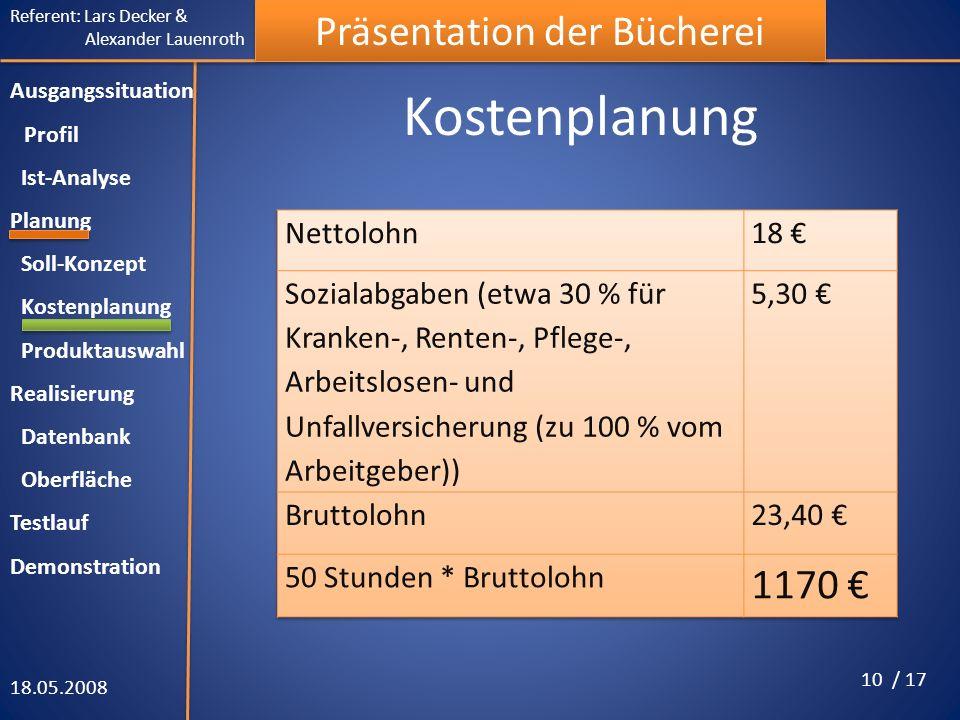 Kostenplanung 1170 € Nettolohn 18 €