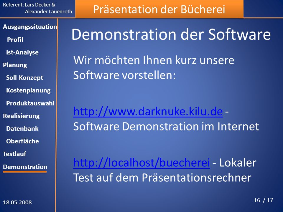 Demonstration der Software