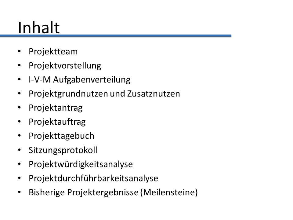 Inhalt Projektteam Projektvorstellung I-V-M Aufgabenverteilung