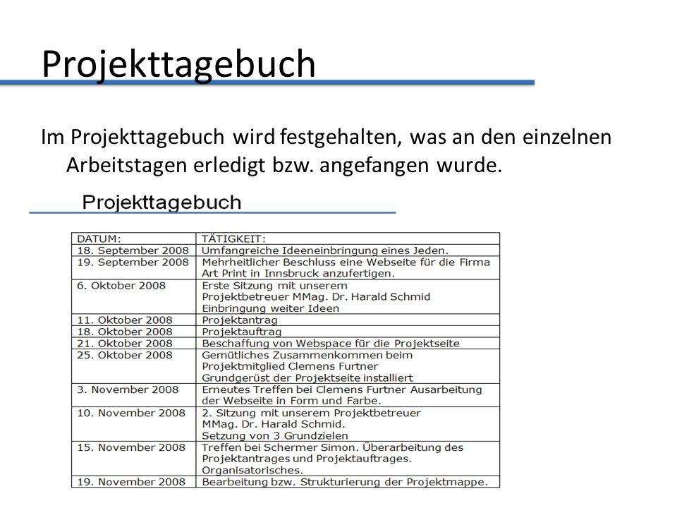 Projekttagebuch Im Projekttagebuch wird festgehalten, was an den einzelnen Arbeitstagen erledigt bzw.