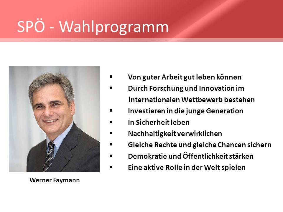 SPÖ - Wahlprogramm Von guter Arbeit gut leben können