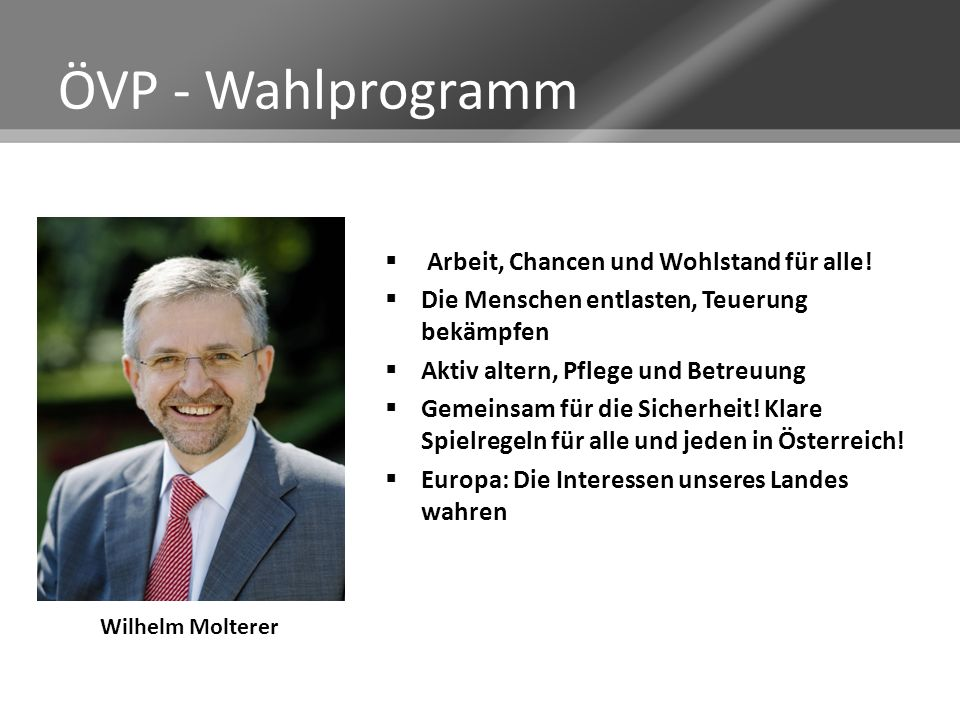 ÖVP - Wahlprogramm Arbeit, Chancen und Wohlstand für alle!