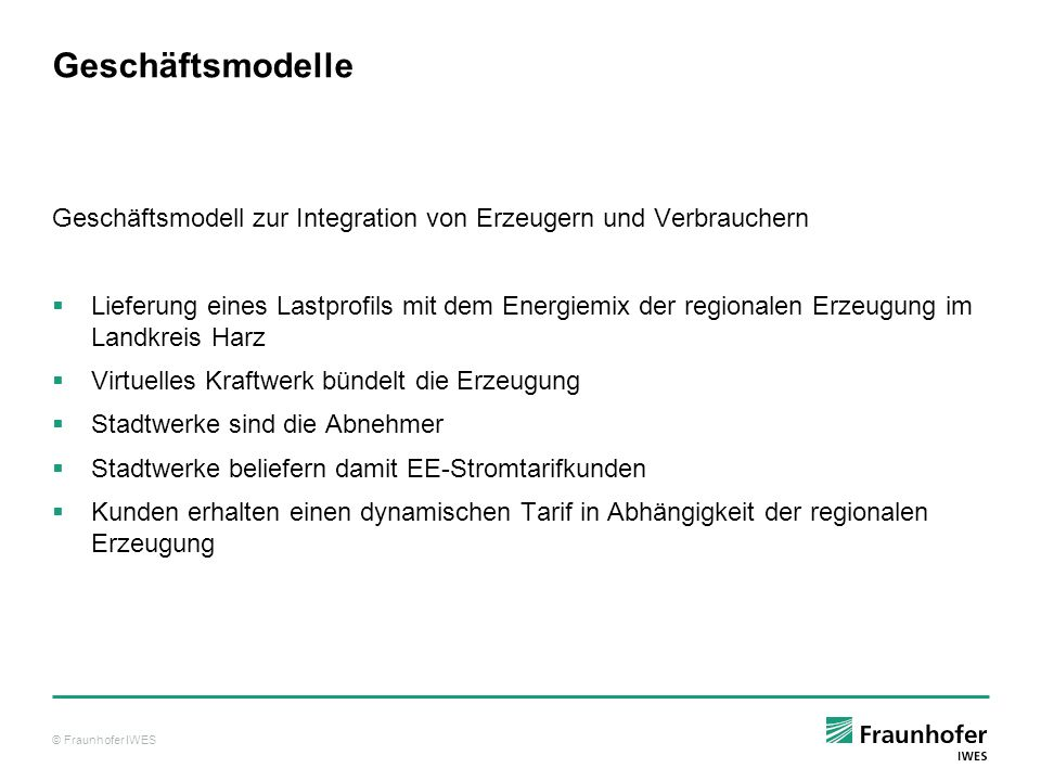 Geschäftsmodelle Geschäftsmodell zur Integration von Erzeugern und Verbrauchern.