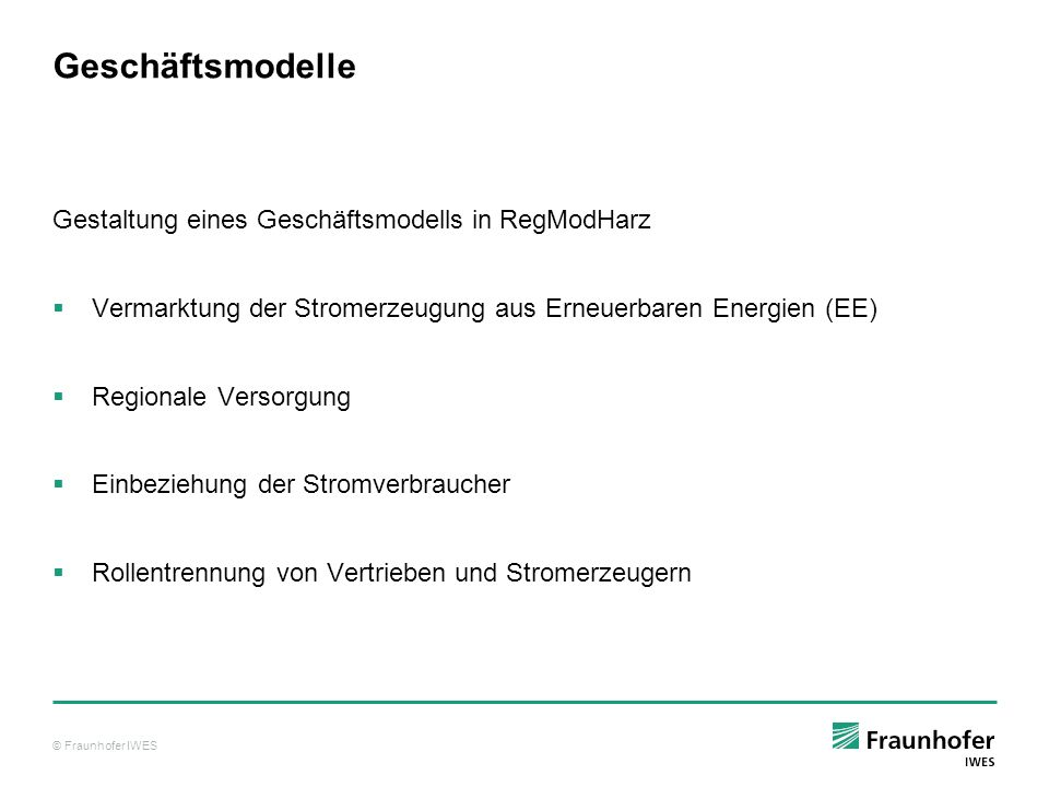 Geschäftsmodelle Gestaltung eines Geschäftsmodells in RegModHarz