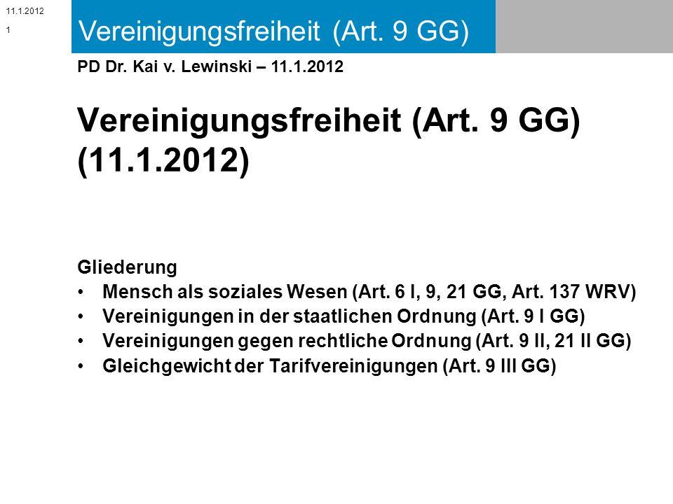 Vereinigungsfreiheit (Art. 9 GG) (11.1.2012)