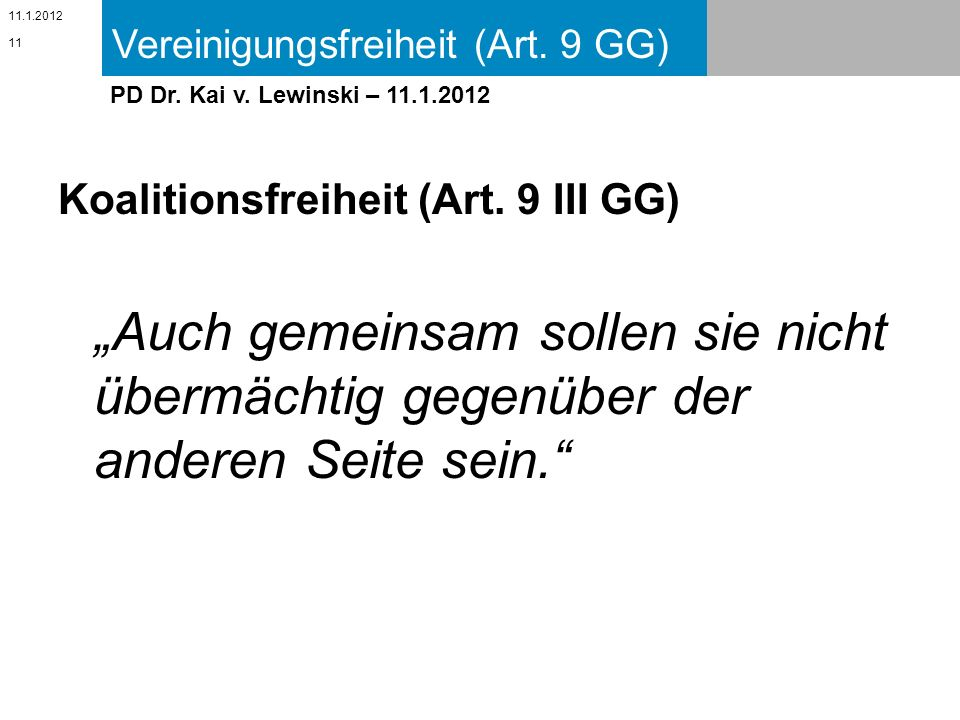 Koalitionsfreiheit (Art. 9 III GG)
