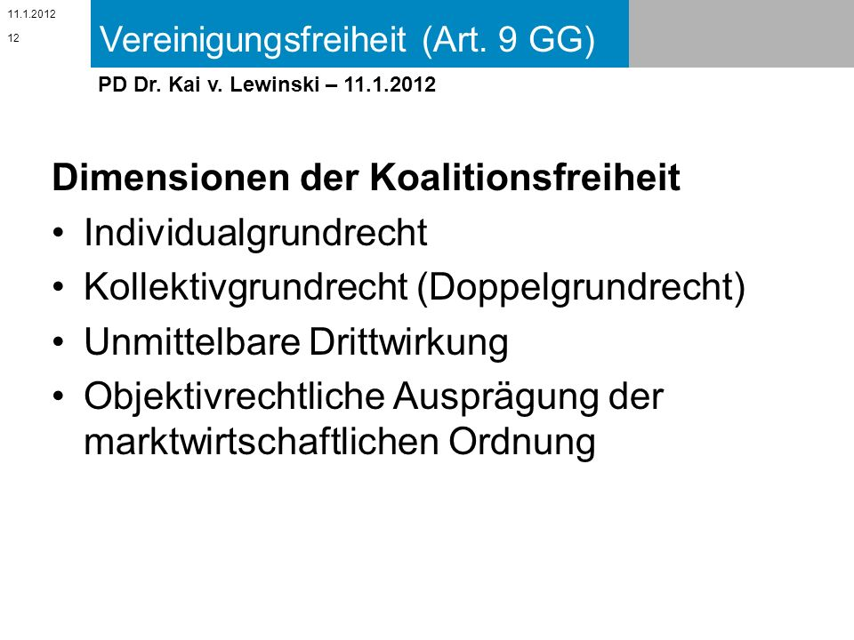 Dimensionen der Koalitionsfreiheit Individualgrundrecht