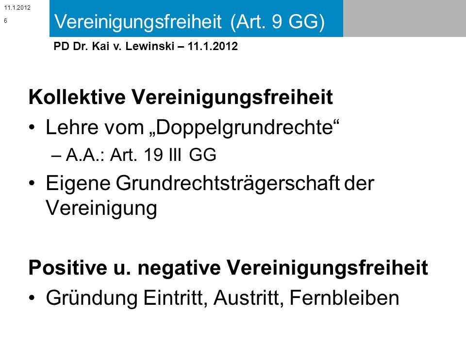 """Kollektive Vereinigungsfreiheit Lehre vom """"Doppelgrundrechte"""