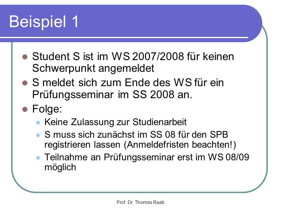 Beispiel 1 Student S ist im WS 2007/2008 für keinen Schwerpunkt angemeldet. S meldet sich zum Ende des WS für ein Prüfungsseminar im SS 2008 an.