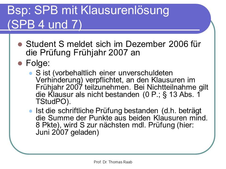 Bsp: SPB mit Klausurenlösung (SPB 4 und 7)