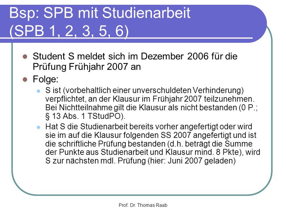 Bsp: SPB mit Studienarbeit (SPB 1, 2, 3, 5, 6)