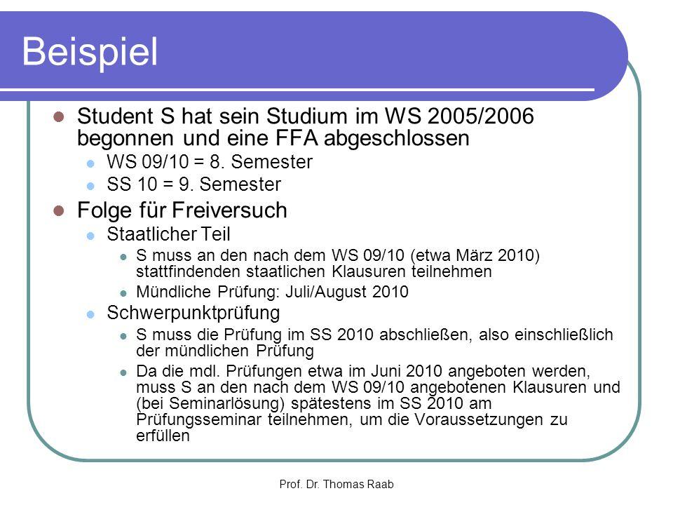 Beispiel Student S hat sein Studium im WS 2005/2006 begonnen und eine FFA abgeschlossen. WS 09/10 = 8. Semester.
