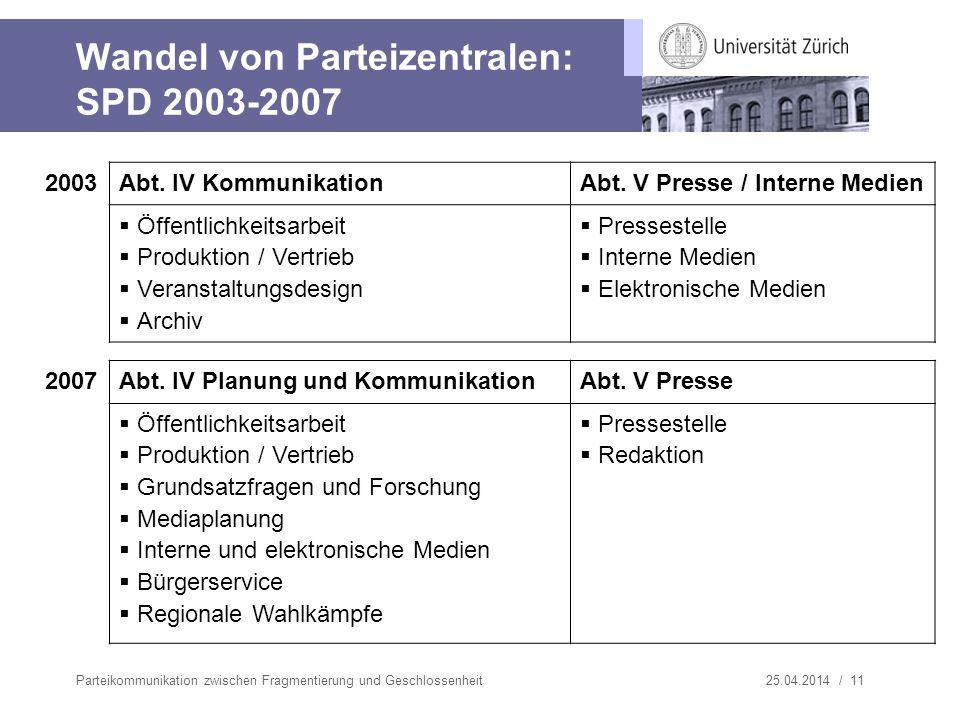Wandel von Parteizentralen: SPD 2003-2007