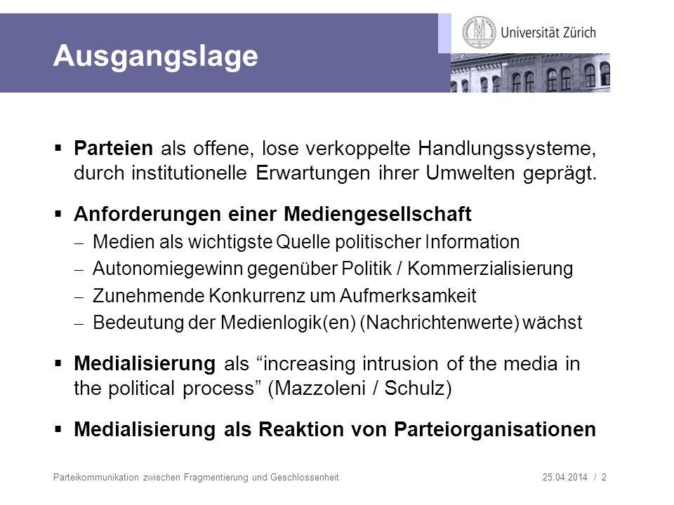 Ausgangslage Parteien als offene, lose verkoppelte Handlungssysteme, durch institutionelle Erwartungen ihrer Umwelten geprägt.