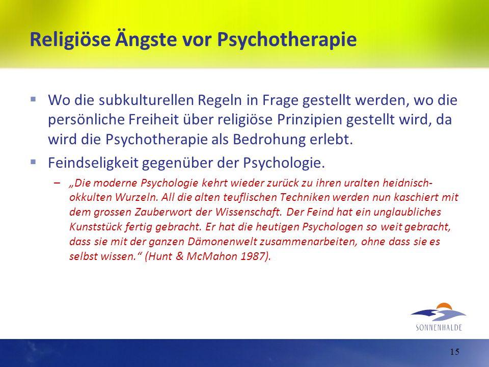 Religiöse Ängste vor Psychotherapie