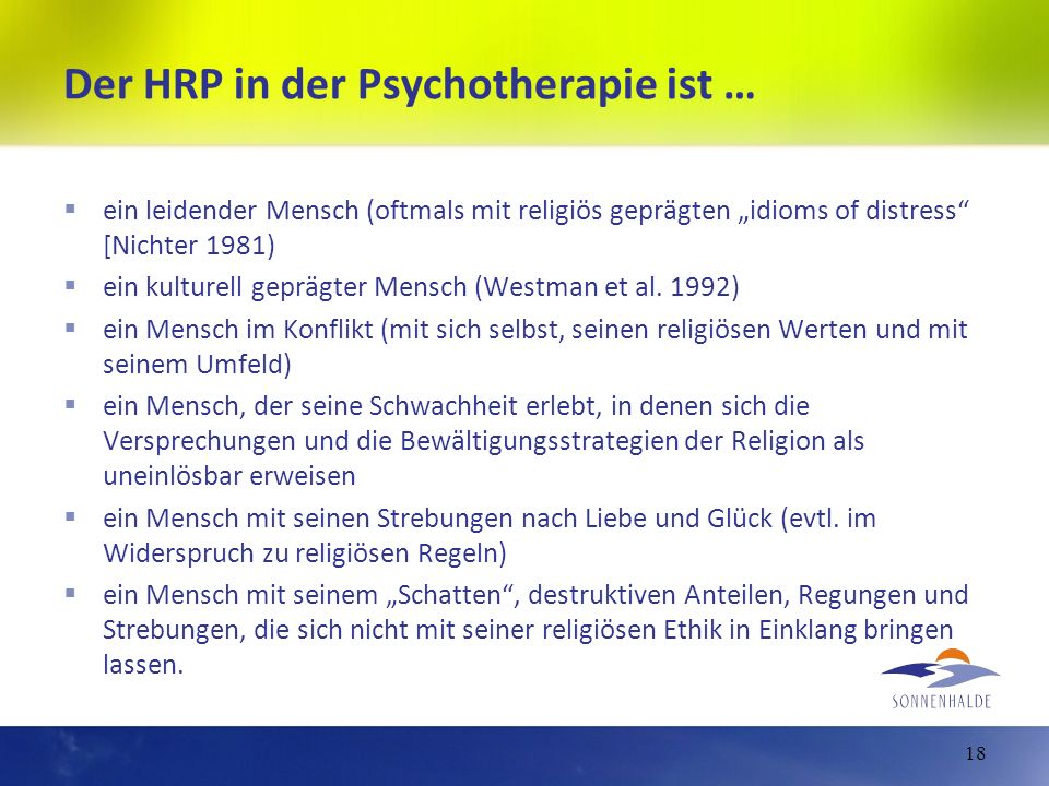 Der HRP in der Psychotherapie ist …
