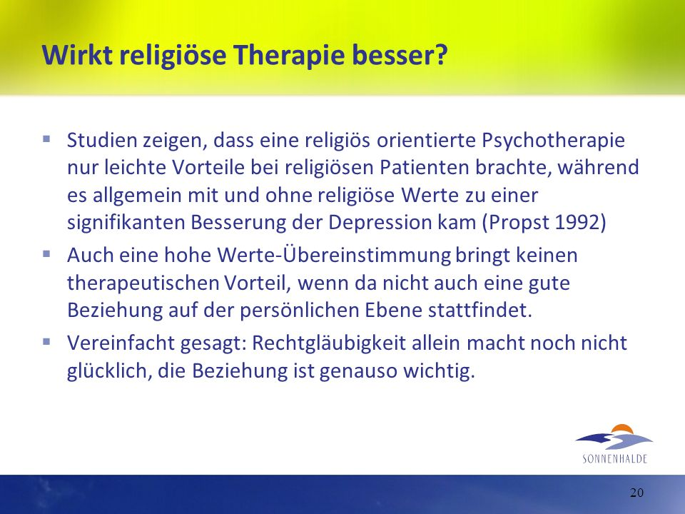 Wirkt religiöse Therapie besser