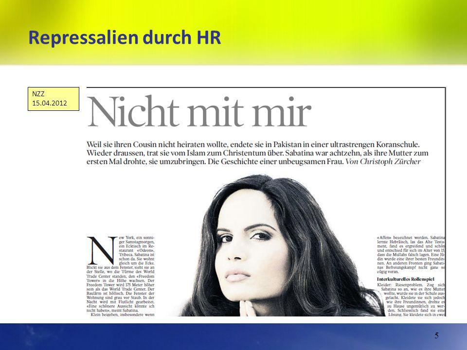 Repressalien durch HR NZZ 15.04.2012