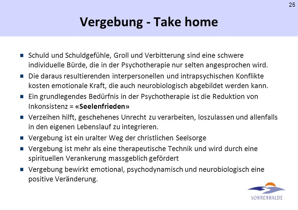 Vergebung - Take home