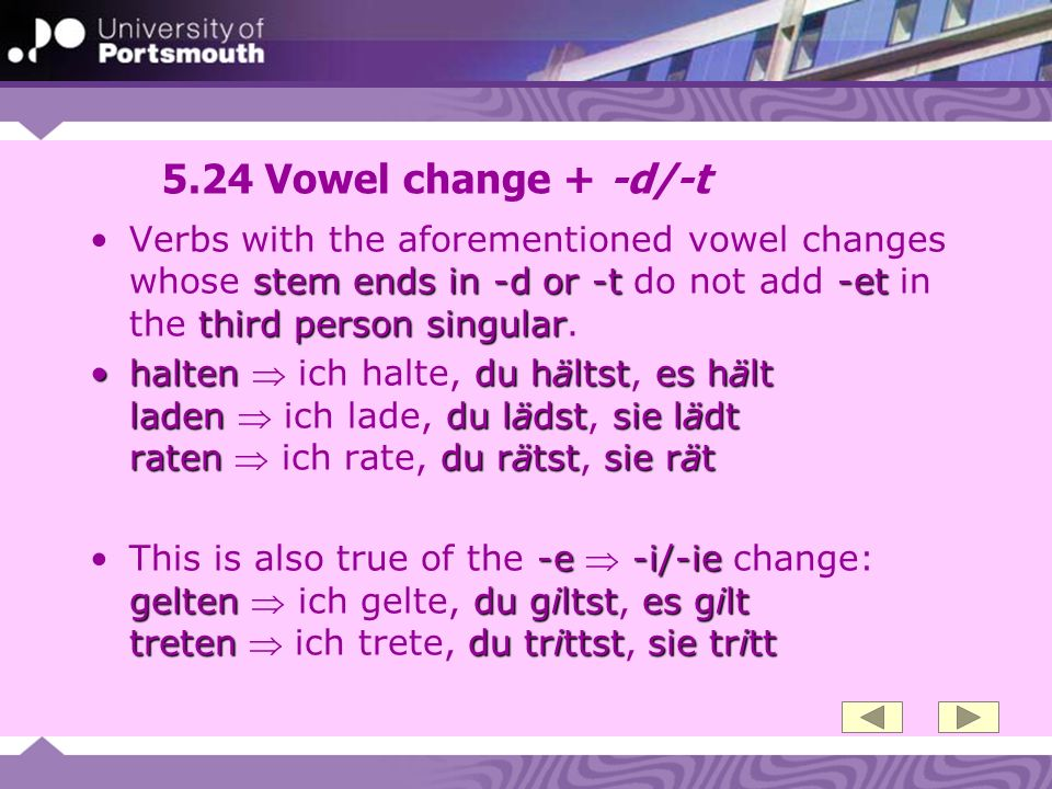 5.24 Vowel change + -d/-t Verbs with the aforementioned vowel changes whose stem ends in -d or -t do not add -et in the third person singular.