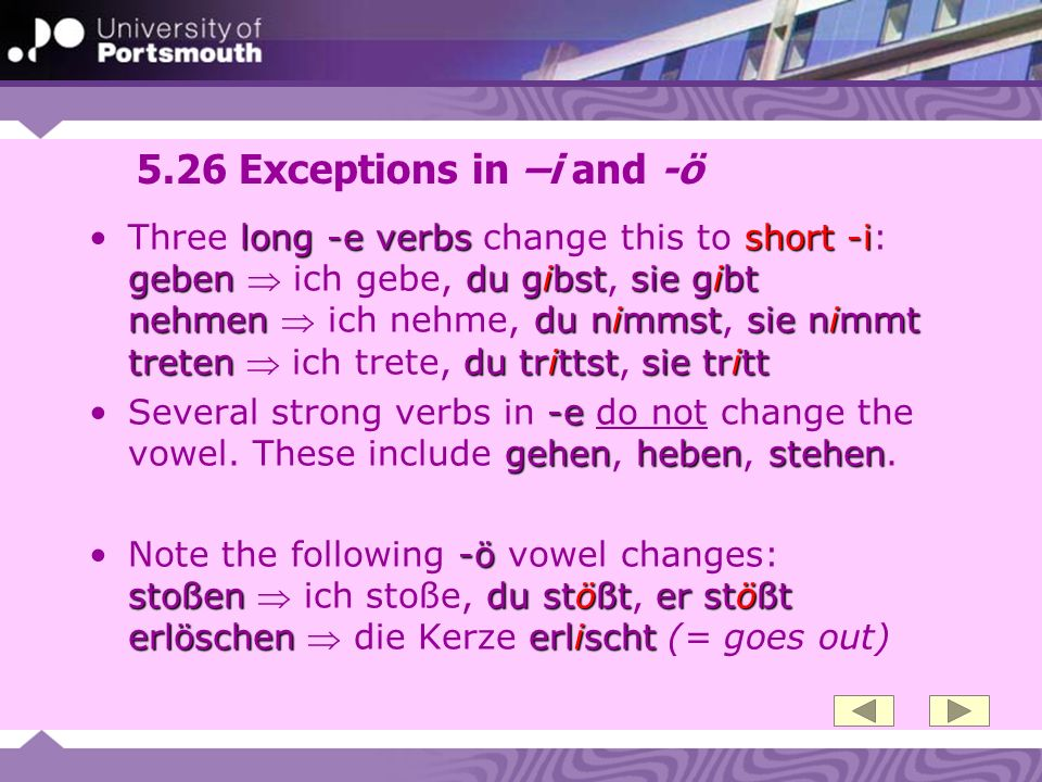 5.26 Exceptions in –i and -ö