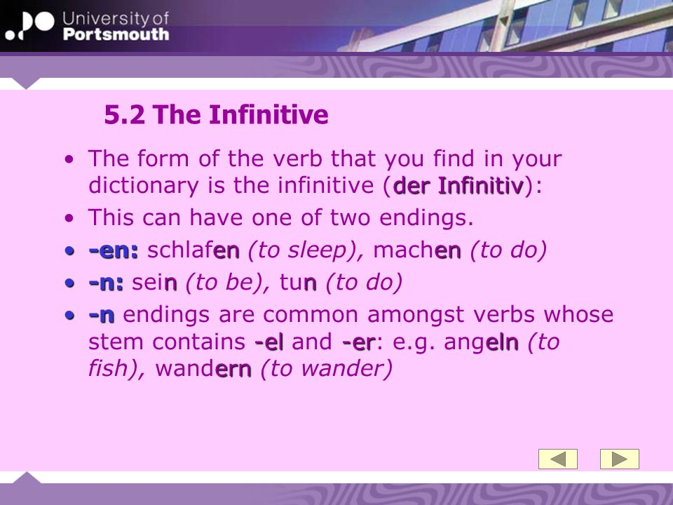 5.2 The Infinitive The form of the verb that you find in your dictionary is the infinitive (der Infinitiv):