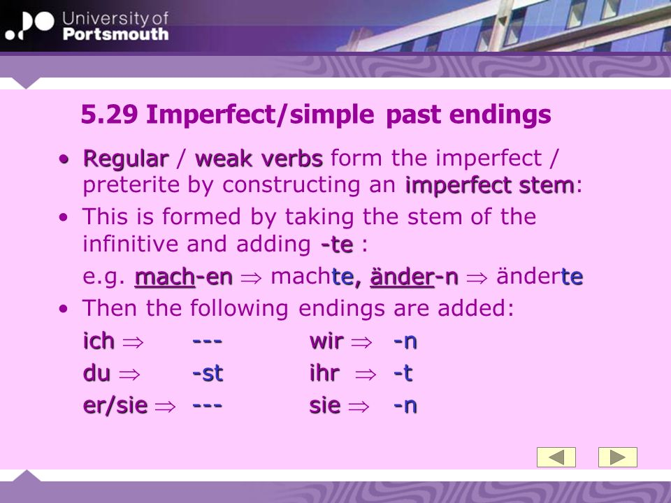 5.29 Imperfect/simple past endings