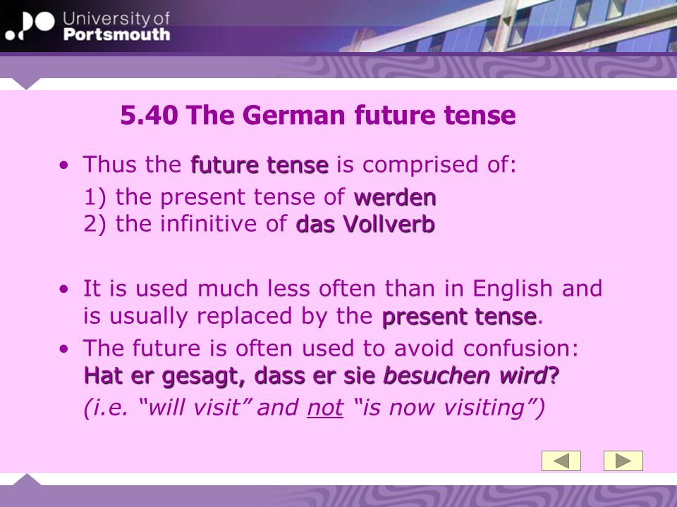 5.40 The German future tense
