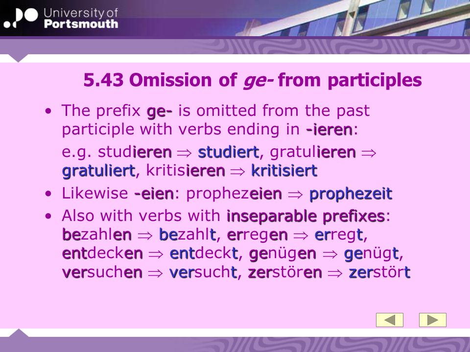 5.43 Omission of ge- from participles