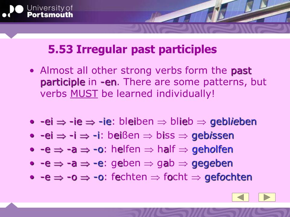 5.53 Irregular past participles