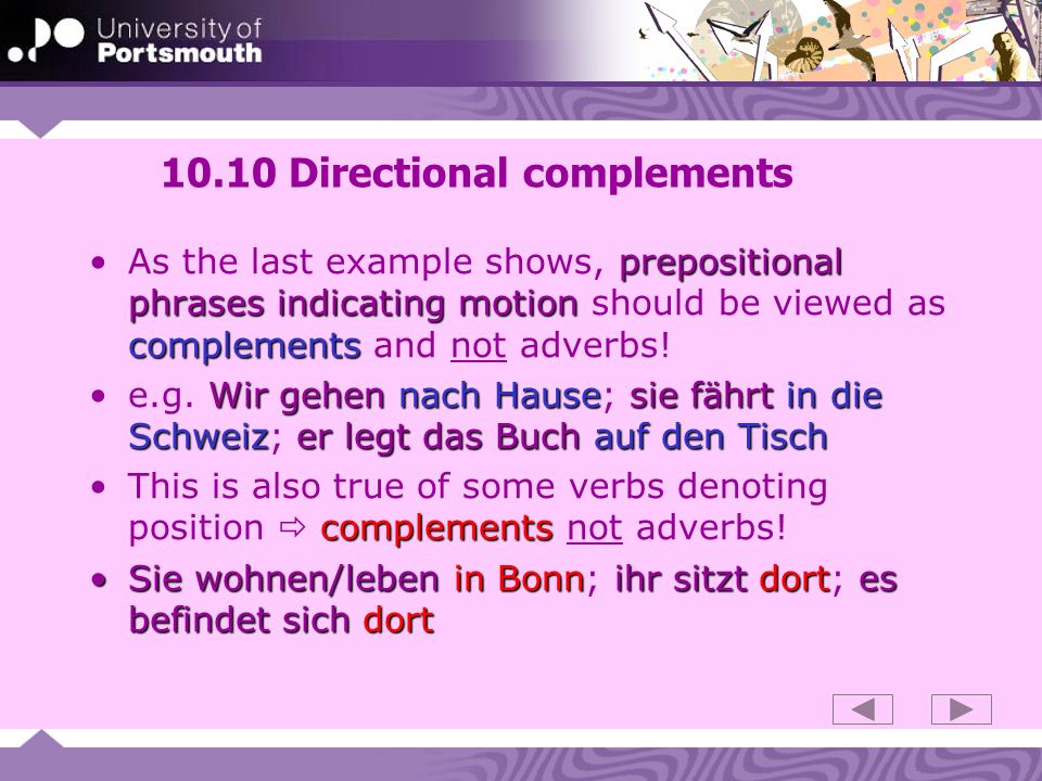 10.10 Directional complements