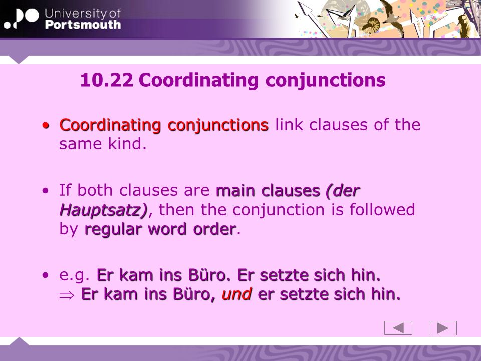 10.22 Coordinating conjunctions