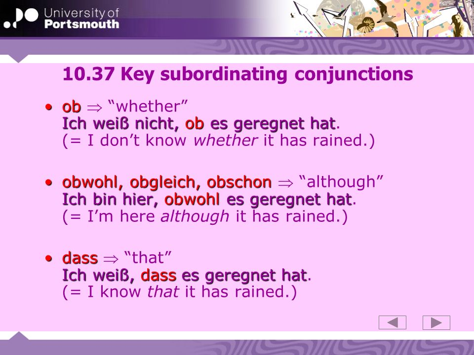 10.37 Key subordinating conjunctions