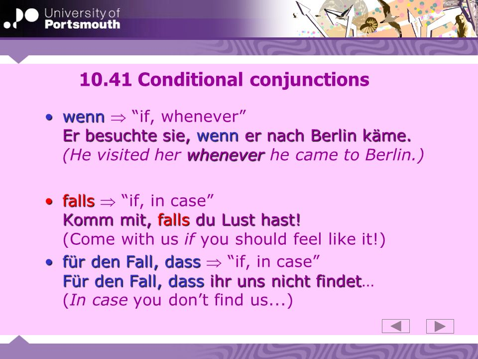 10.41 Conditional conjunctions