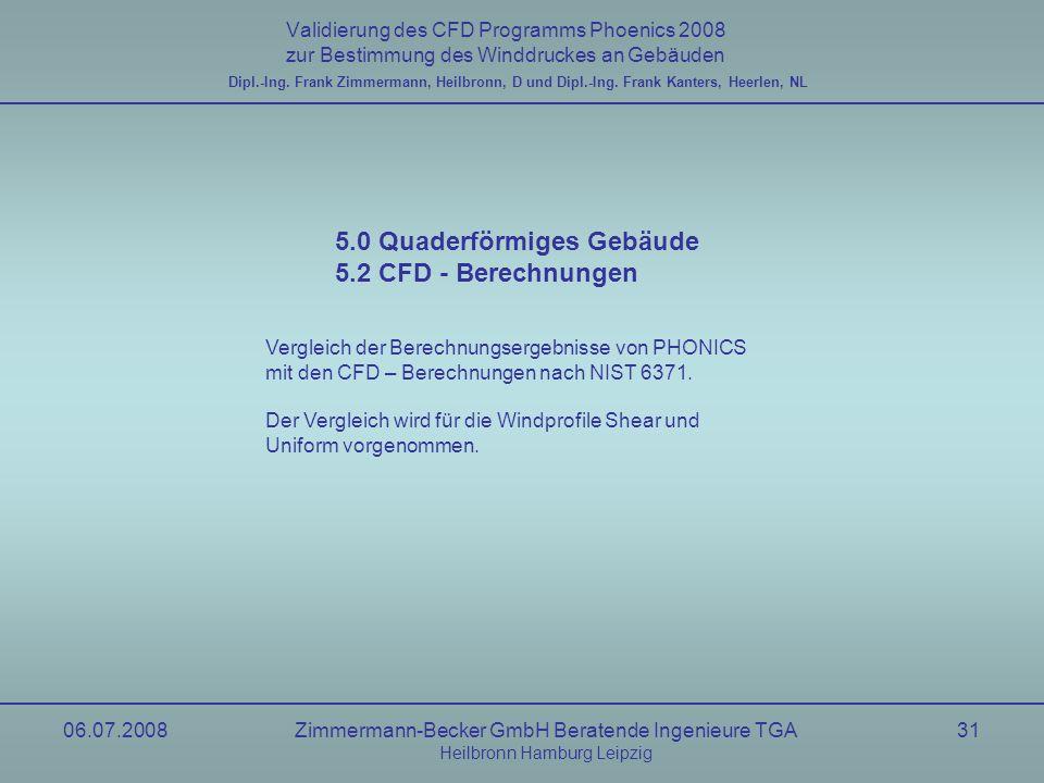 5.0 Quaderförmiges Gebäude 5.2 CFD - Berechnungen