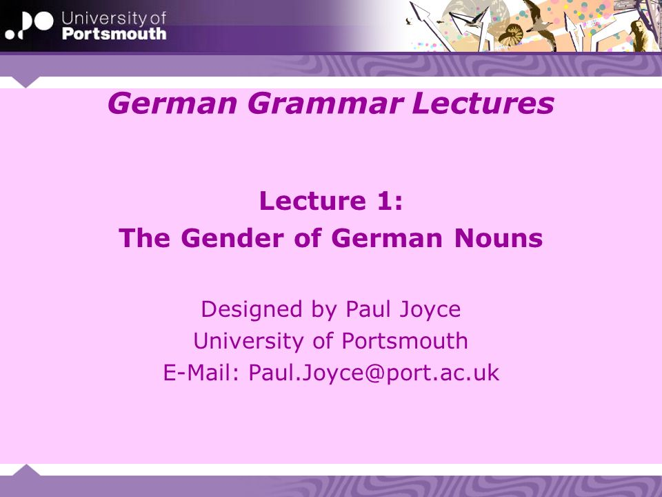German Grammar Lectures