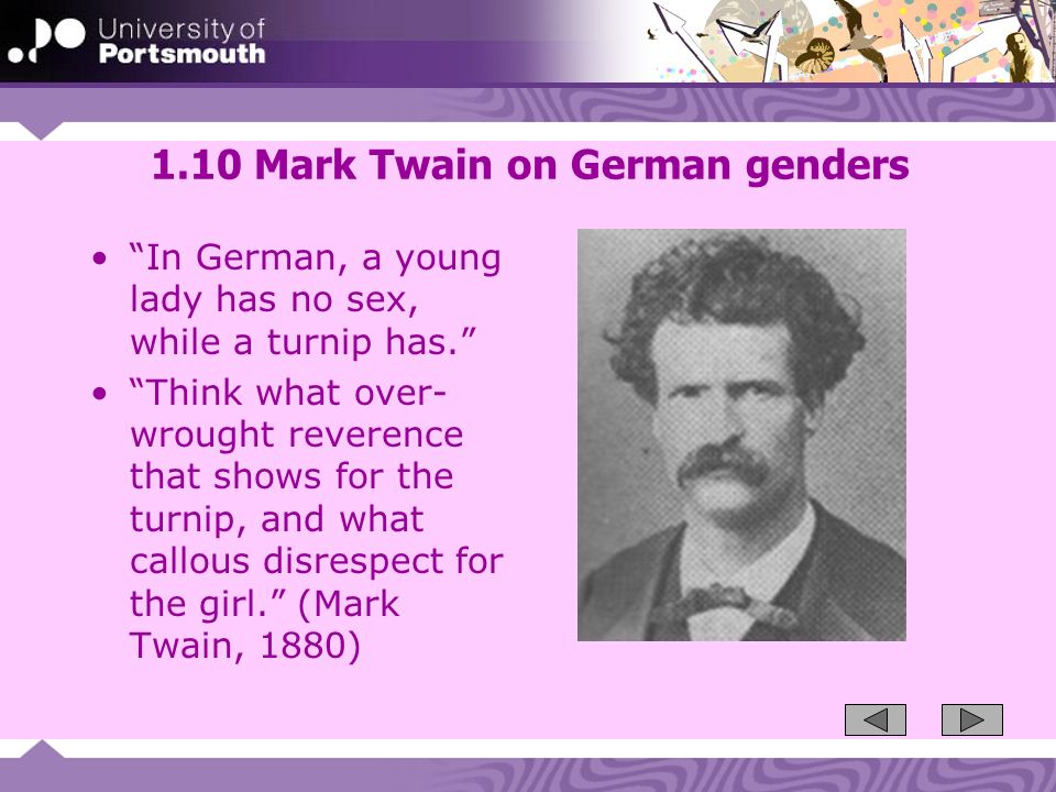 1.10 Mark Twain on German genders