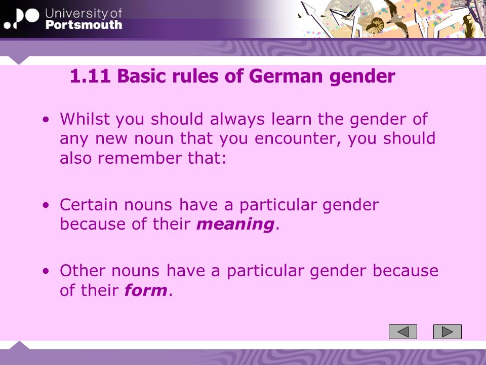 1.11 Basic rules of German gender