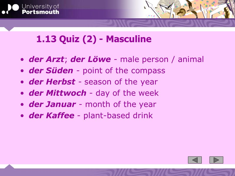 1.13 Quiz (2) - Masculine der Arzt; der Löwe - male person / animal