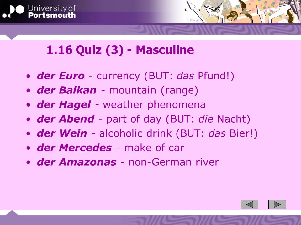 1.16 Quiz (3) - Masculine der Euro - currency (BUT: das Pfund!)