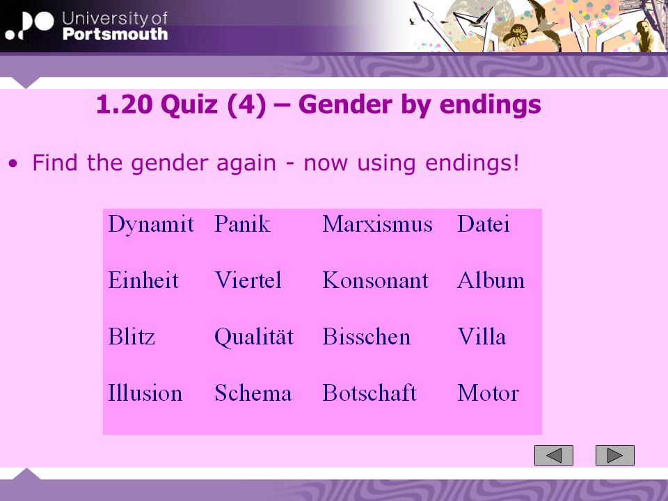 1.20 Quiz (4) – Gender by endings