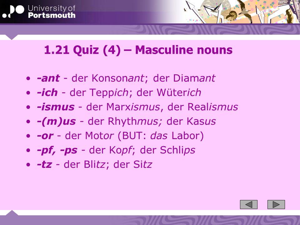 1.21 Quiz (4) – Masculine nouns