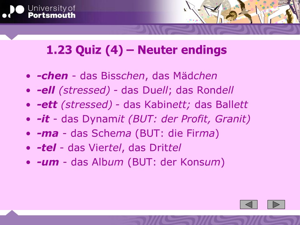 1.23 Quiz (4) – Neuter endings