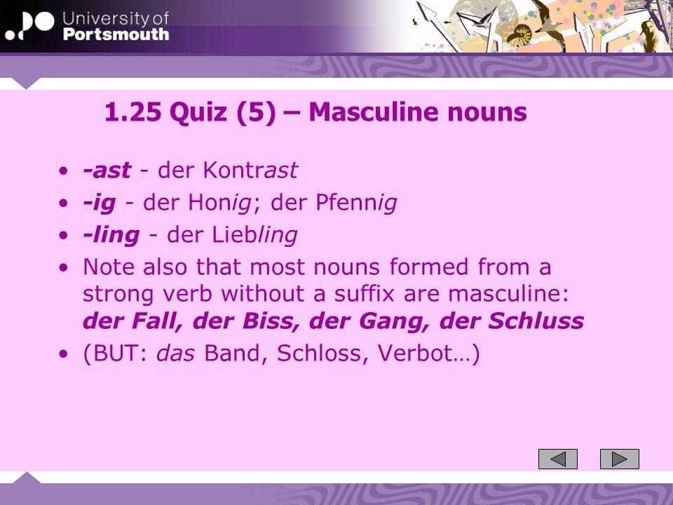 1.25 Quiz (5) – Masculine nouns