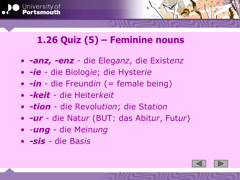 1.26 Quiz (5) – Feminine nouns