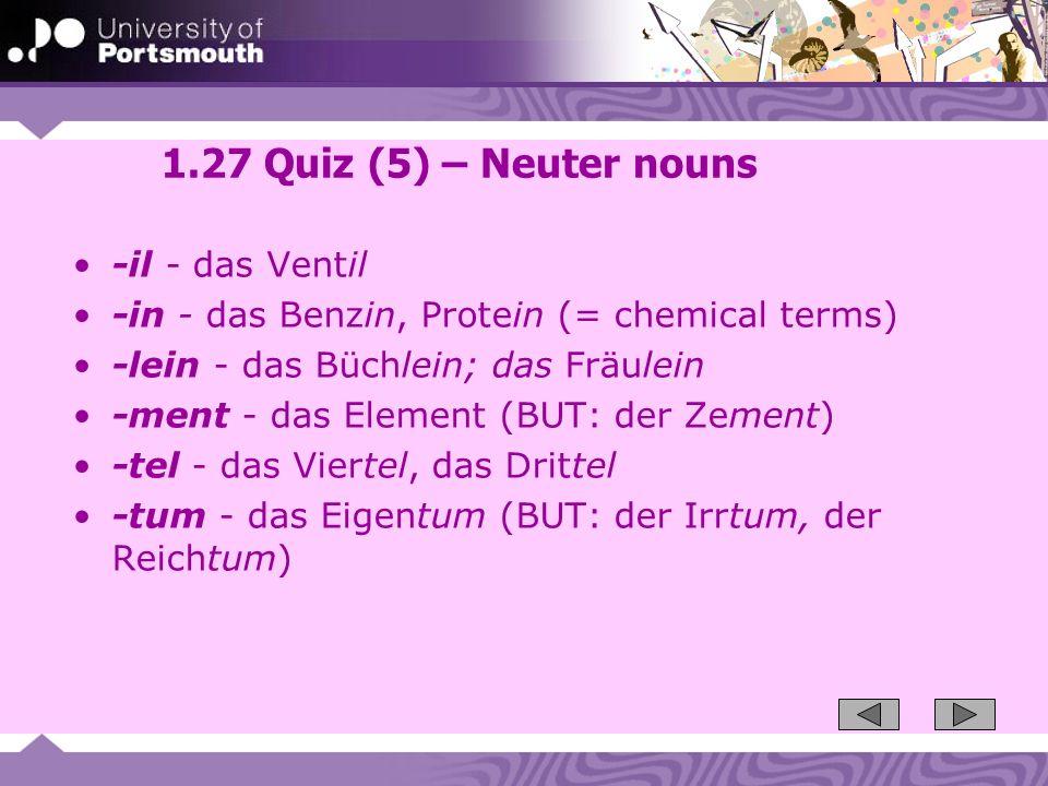 1.27 Quiz (5) – Neuter nouns -il - das Ventil