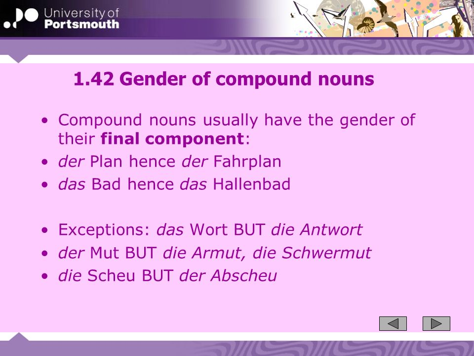 1.42 Gender of compound nouns