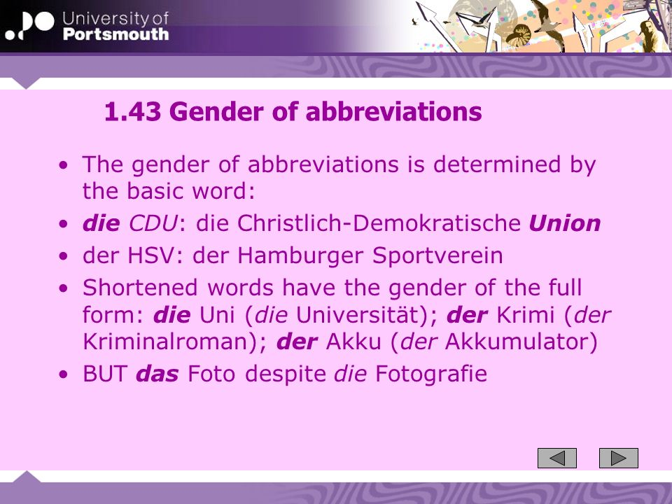 1.43 Gender of abbreviations