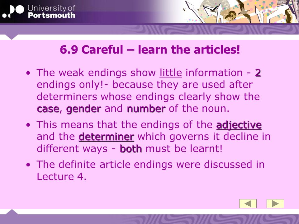 6.9 Careful – learn the articles!