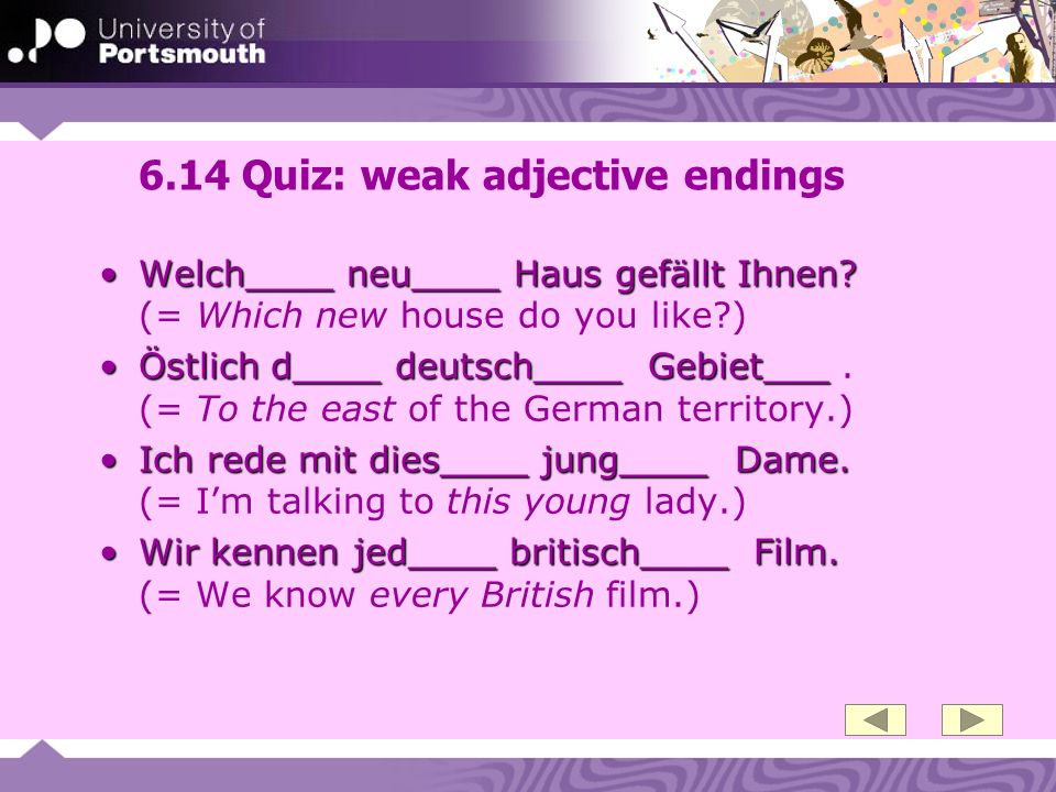 6.14 Quiz: weak adjective endings